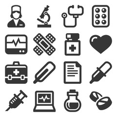 Health and Medical Icons Set on White Background. Vector