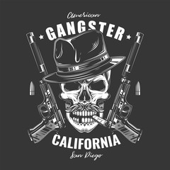 Original monochrome vector illustration. Angry skull bandit in hat on background of two pistols with silencers. T-shirt or sticker design.