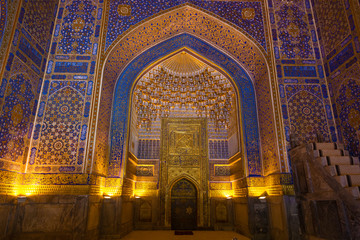 The interior of the mosque in the Tilla-Kari Madrasah on the Registan square, Samarkand, Uzbekistan