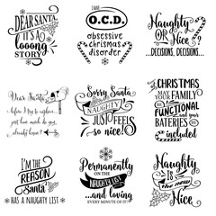 Cute Christmas quotes collection isolated on white. Vector