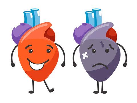 Healthy vs sick heart human organs condition comparison