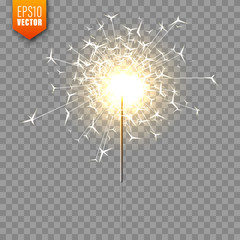 Realistic Christmas sparkler on transparent background. Bengal fire effect. Festive bright fireworks with sparks. New Year decoration. Burning sparkling candle. Vector illustration.