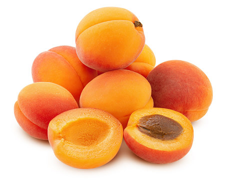 apricot isolated on white background, clipping path, full depth of field