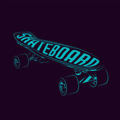 Bright neon skateboard. Vector illustration. T-shirt design