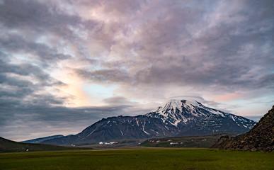 Door stickers Lavender Volcanic landscape of Kamchatka Peninsula.
