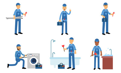 Plumbers Service In Daily Work Of Repairing Water Supplies Vector Illustration Set Isolated On White Background