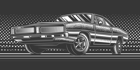 Original monochrome vector illustration. American muscle car on a bright background in the style of 80-90's Fototapete