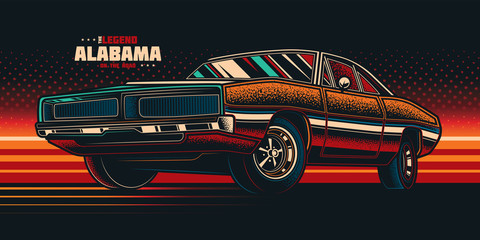 Original vector illustration in neon style. American muscle car on a bright background in the style of 80-90's