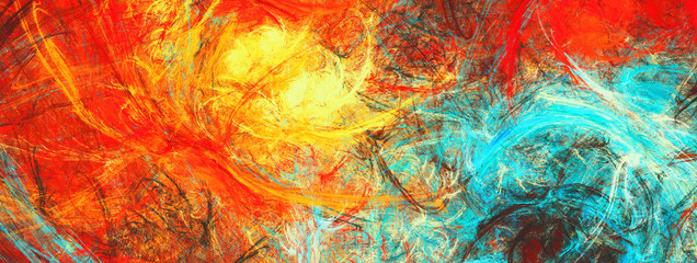 Sunlight. Bright dynamic background. Abstract painting texture in summer color. Modern artistic futuristic shiny pattern. Fractal artwork for creative graphic design