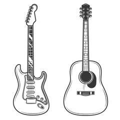 Original contour vector illustration. Acoustic and electric guitar.