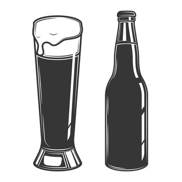 Original contour illustration of a beer bottle and a glass. Coloring