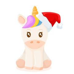 Little unicorn with christmas hat
