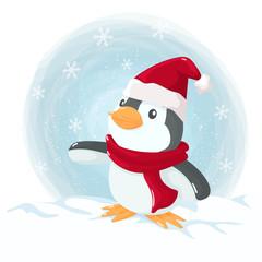 Little penguin at Christmas