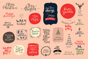 Merry Christmas and Happy New Year vintage hand drawn logos, badges and phrases for gift tags, stickers, patches, postcards, posters. Modern calligraphic artwork