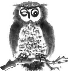 Illustration with owl ink. Black and white ink drawn image. Chinese style. Bird. Big eyes. Owl. Funny bird.