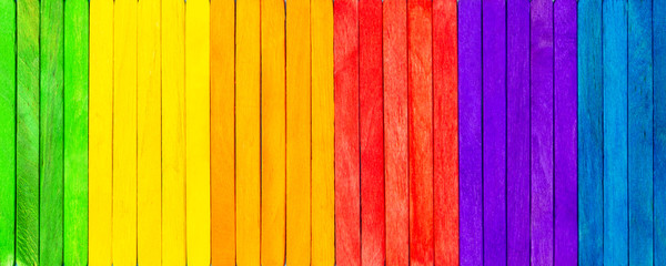 Banner with colorful wooden picks, concept spectrum, panoply and chromatics