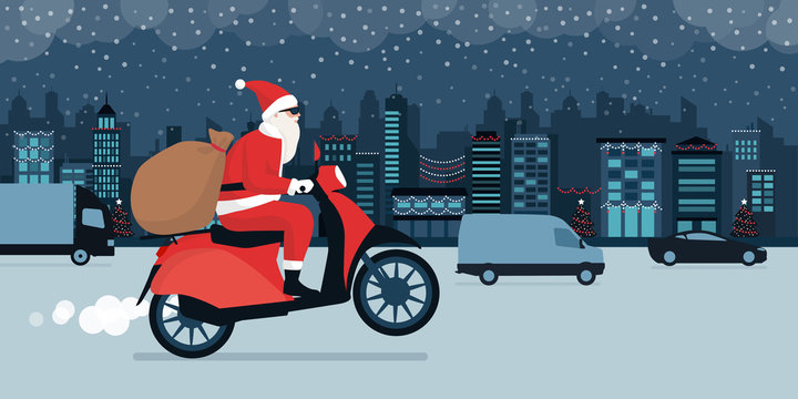 Santa claus delivering gifts on Christmas Eve