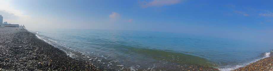 Panoramic view on beautiful sea. Summer sunny day, blue sky, water background Wall mural
