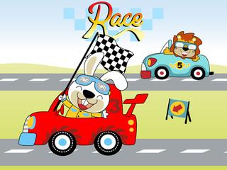 car racing cartoon with funny racer