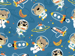 Estores personalizados con tu foto seamless pattern of funny astronaut with outer space transportation