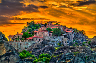Monastery of Varlaam and Monastery of the Transfiguration of the Saviour at Meteora, Greece Fotomurales