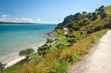 Matakana Island from Mount Maunganui Walking track Tauranga New Zealand