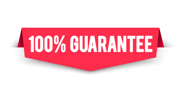 Vector Illustration 100 Percent Guarantee Label. Modern Web Corner Banner Element