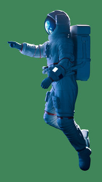 Astronaut pointing laterlal view cut out green screen - 3d rendering