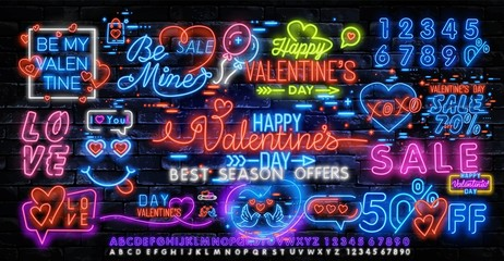 Valentines Day is a proposal, a collection of neon-style banner templates. Set neon signs, posters for shop design, colorful banner, neon advertising, flyers, leaflets, brochures. Vector