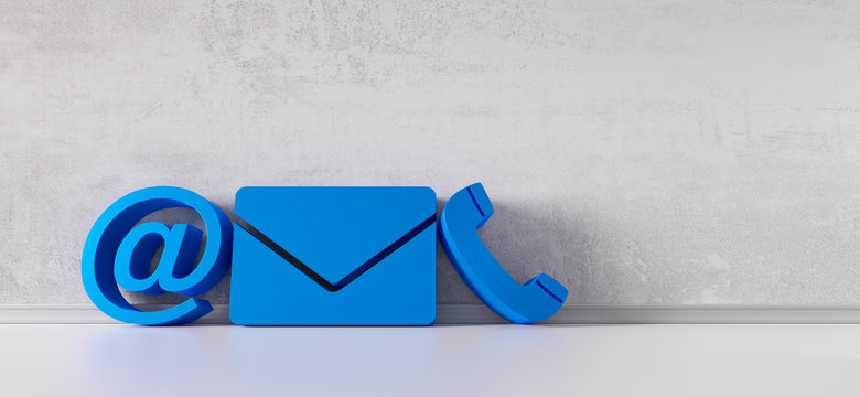 Blue contact icons leaning against a grey wall - communications symbols - 3D illustration
