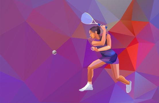 Female Squash Player Polygonal Geometric Vector Illustration