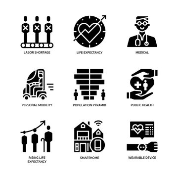 Ageing Society icons set