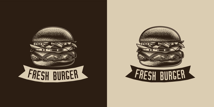 Original monochrome vector emblem. Burger with cutlet, tomatoes and herbs in vintage style.