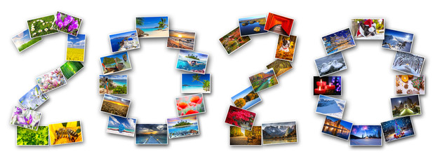 New Year 2020 with four seasons in photography. Collage of pictures from my gallery.