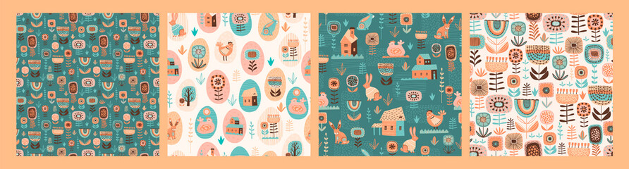 Vector seamless patterns with easter symbols and folk flowers.
