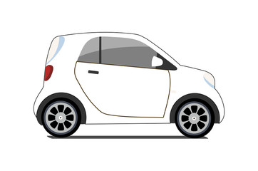 Car sharing logo, vector city micro white car. Eco vehicle cartoon icon isolated on white background. Cartoon vector illustration with urban ecological transport. Cute vector smart car illustration.