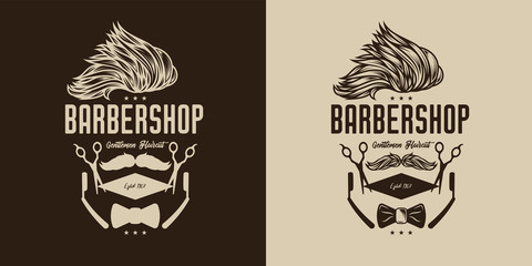 Monochrome vector logo of a hairdressing salon in vintage style. Stylish hairstyle and mustache with text composition, hairdressing scissors, straight razor.