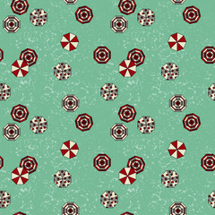 A beach background seamless pattern with color umbrellas - Seamless vector pattern design for backdrop, fabric or paper