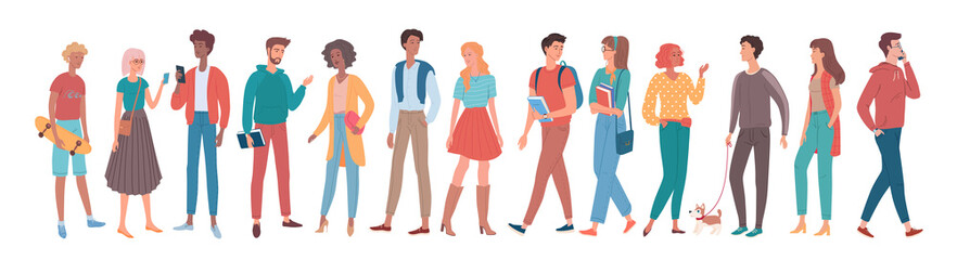 Young people group vector illustration