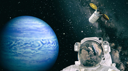 Astronaut give thumbs up against extrasolar planet. The elements of this image furnished by NASA.