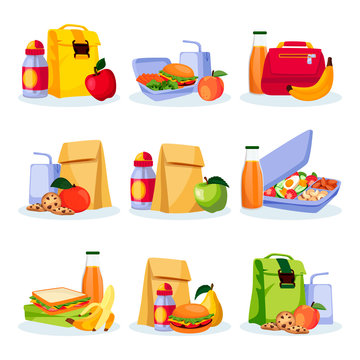 Kids school healthy lunch and snacks. Vector flat cartoon illustration. Lunchboxes with home made meal and drinks