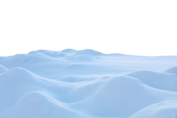 Wall Mural - A large beautiful snowdrift isolated on white background.Winter snow  background. A big snow drift