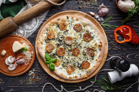 Mushroom pizza with herbs and mozzarella. Mockup.
