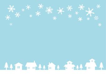 可愛いお家が並ぶのどかな冬の街並み【背景】