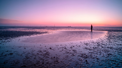 Printed kitchen splashbacks Eggplant another place at crosby beach at sunset, merseyside