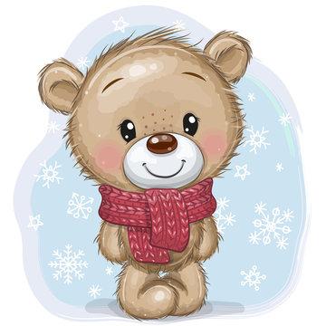Cartoon Teddy Bear in a knitted scarf on a blue background