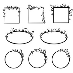 Vector floral and nature frames. Isolated elements for decoration. Floral simple and neutral black and white geometric frames with floral decorations.