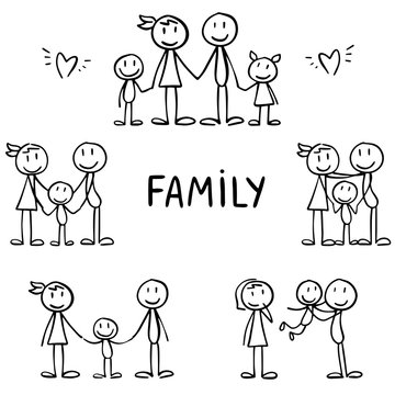 Set of stick figures. Happy family, motherhood and joy with children. Childish hand drawn stick men showing parents with children.