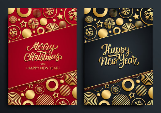 Christmas and New Year luxury holiday cards with gold handwritten inscriptions Merry Christmas and Happy New Year with gold colored christmas balls, stars and snowflakes. Vector illustration.