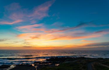 Sunset along the Yachats Oregon coastline